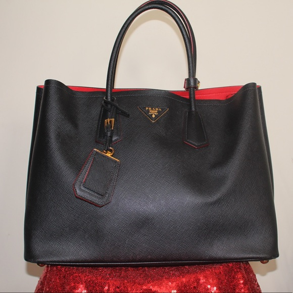 c57b1ea6fd20 Prada Bags   Saffiano Cuir Medium Double Bag Rebblack   Poshmark
